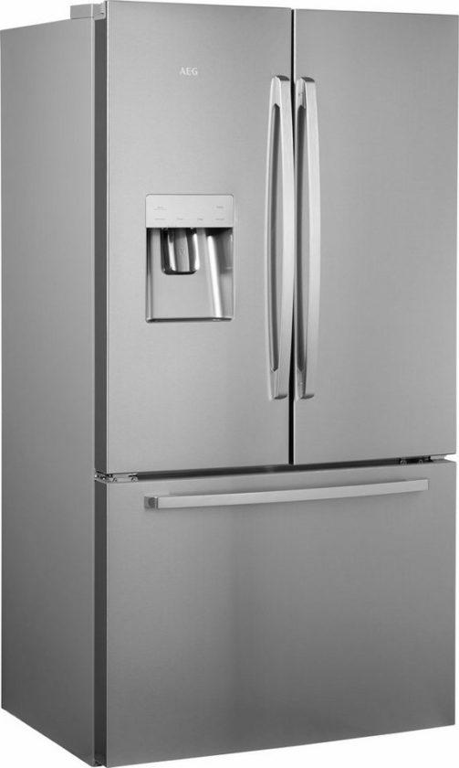 Grandes Ofertas Frigorífico americano de dos puertas, en color plateado, congelador en forma de cajón.